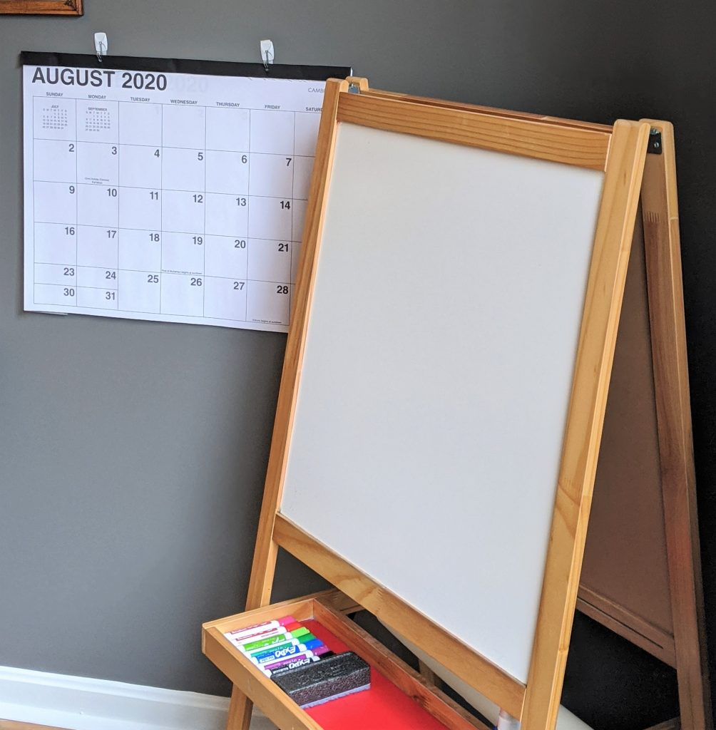 Creating a home learning space for your child this fall? An easel and a calendar are fun extras to include in your space.