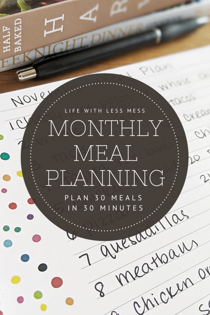 Make a Monthly Meal Plan in just a few minutes with this simple system.