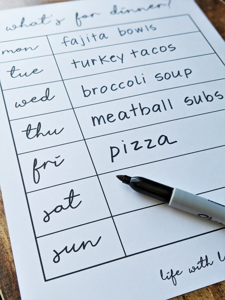 Displaying your meal plan can make sticking to a meal plan easier.