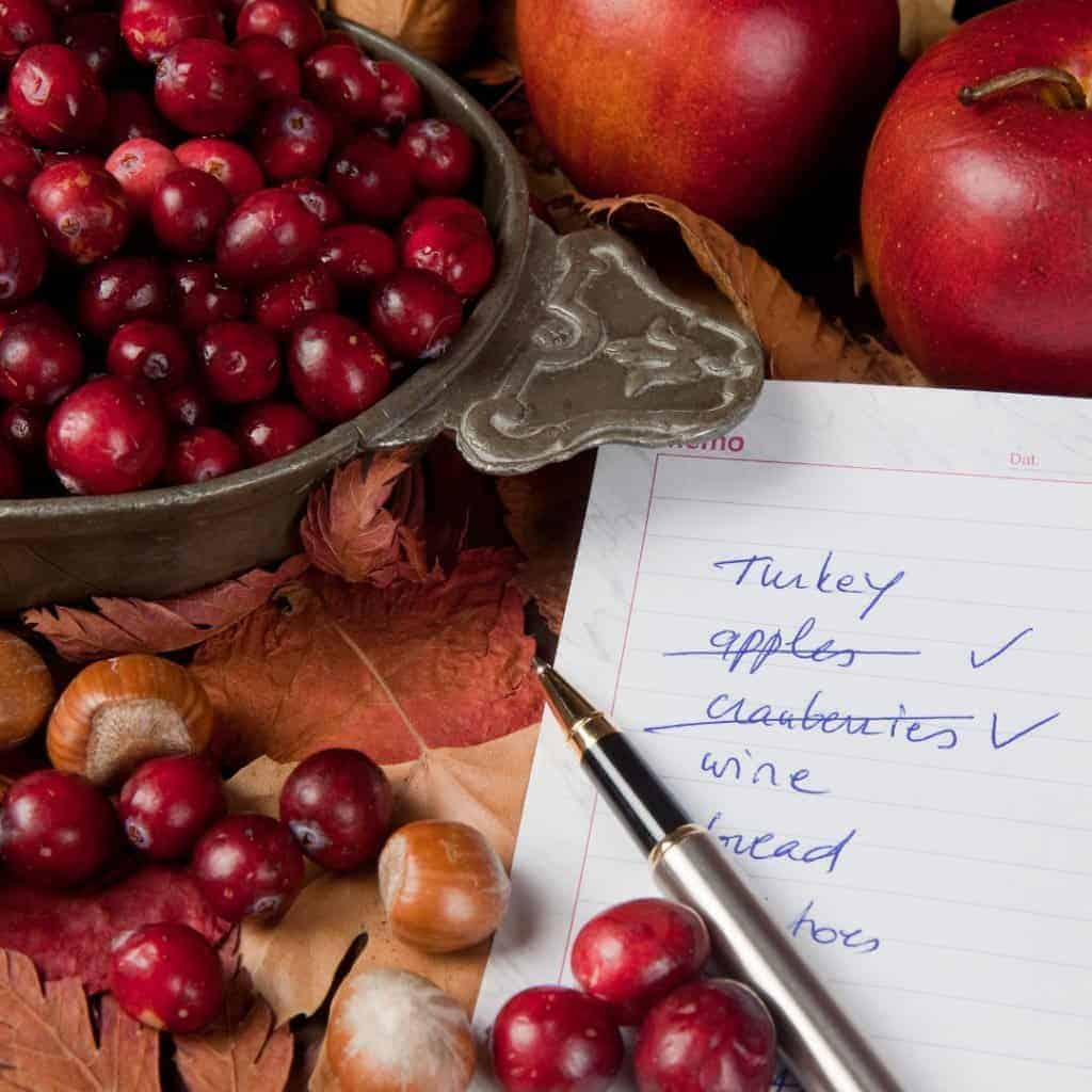 Making lists is key to having an organized Thanksgiving.