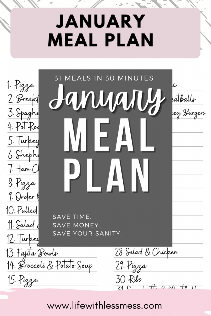 My January Monthly Meal Plan helps me plan out 31 meals in 30 minutes to keep our busy family eating healthy and saving money.