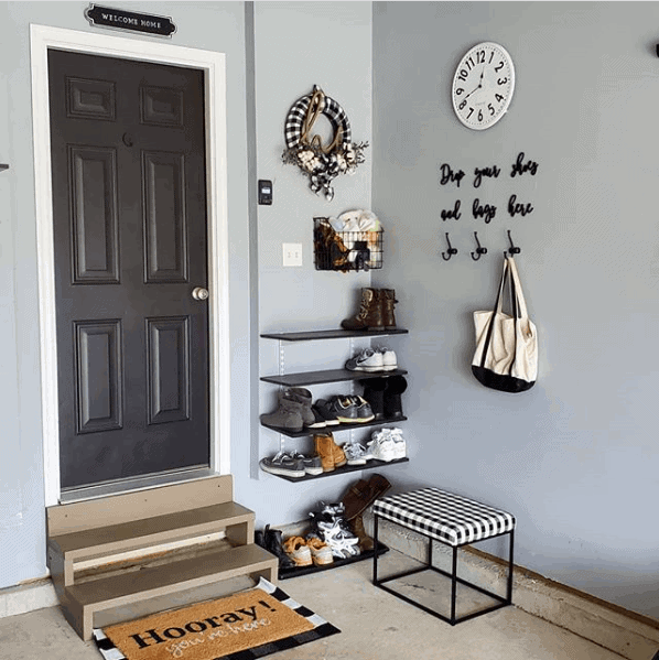 DIY Mudroom Ideas: Mudroom in the garage! Just add shelves and a bench.