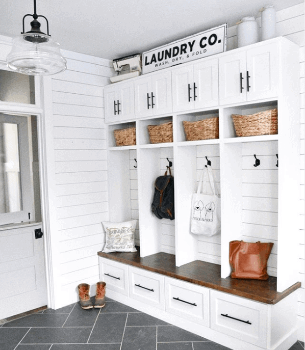 This Mudroom by Bruno and Libby is Goals.