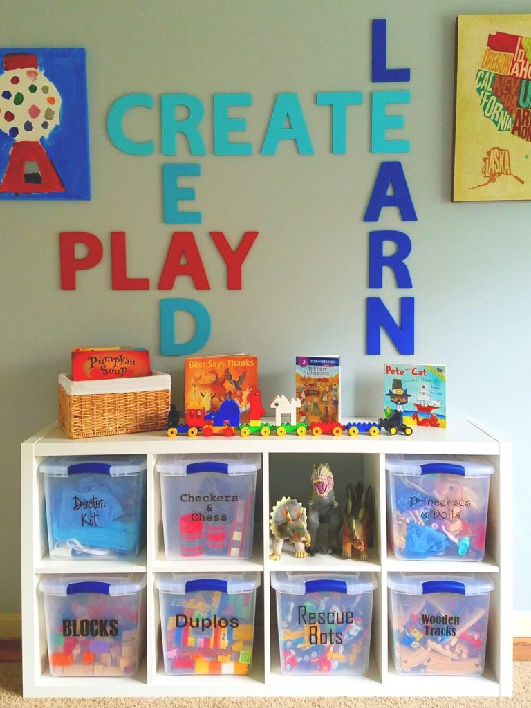 Our old playroom had more toys and less space for creating.