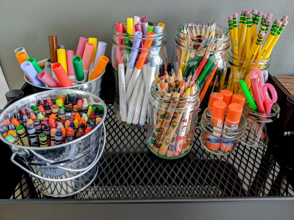 School Supplies in a raskog cart