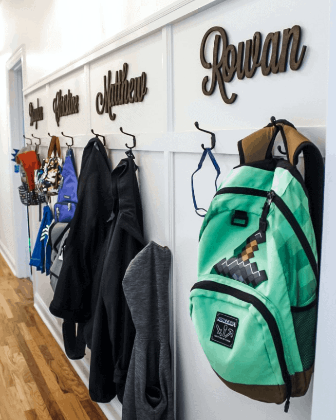 DIY Mudroom Ideas: How about hooks in a hallway?