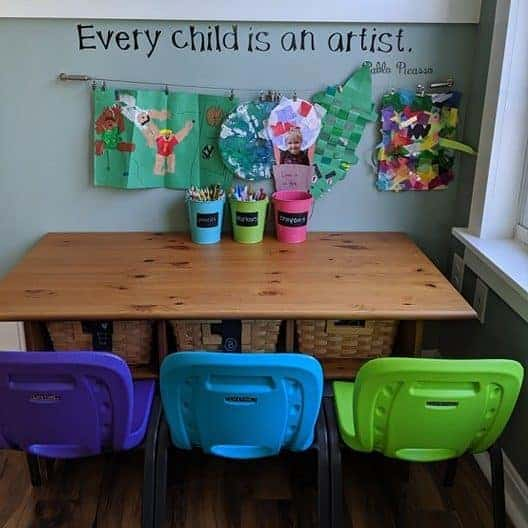 Toddler art stations are great for any creative kiddo.